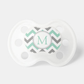 Monogrammed Mint Green and Gray Chevron Pattern Baby Pacifiers