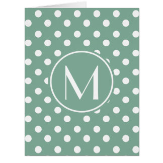 Monogrammed Mint Green and White Polka Dots Card