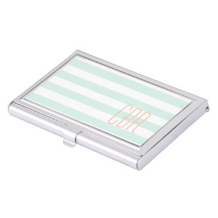 Simple feminine business card holders cases zazzle monogrammed mint green coral horizontal stripes case for business cards colourmoves
