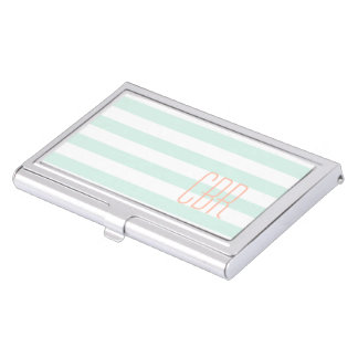 Monogrammed Mint Green Coral Horizontal Stripes Case For Business Cards