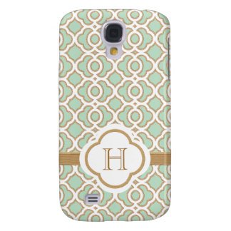 Monogrammed Mint Green Gold Moroccan Galaxy S4 Cover