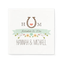 Monogrammed Mint Green Horseshoe Heart Wedding Napkin