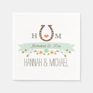 Monogrammed Mint Green Horseshoe Heart Wedding Standard Cocktail Napkin