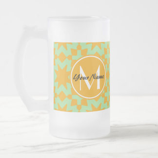 Monogrammed Mint Green Orange Stylish Chic Pattern Frosted Glass Beer Mug