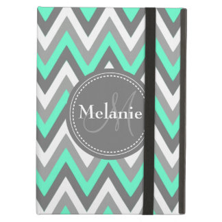 Monogrammed Mint & Grey Chevron Pattern iPad Air Cover