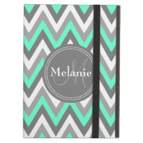 Monogrammed Mint & Grey Chevron Pattern iPad Air Covers