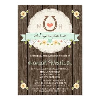 MONOGRAMMED MINT HORSESHOE WESTERN BRIDAL SHOWER CARD