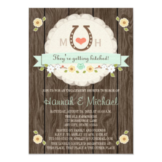 MONOGRAMMED MINT HORSESHOE WESTERN COUPLES SHOWER 5X7 PAPER INVITATION CARD