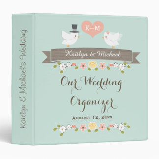 Monogrammed Mint Love Birds Dove Wedding Planner 3 Ring Binder