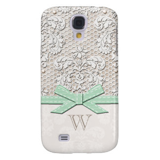 Monogrammed Mint Vintage Lace Pearl Samsung S4 Case