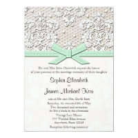 Monogrammed Mint Vintage Lace Wedding Invitations