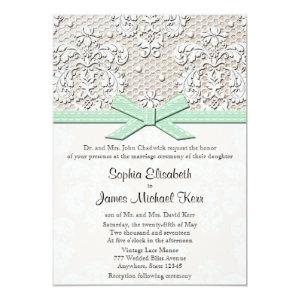 Monogrammed Mint Vintage Lace Wedding Invitations 5