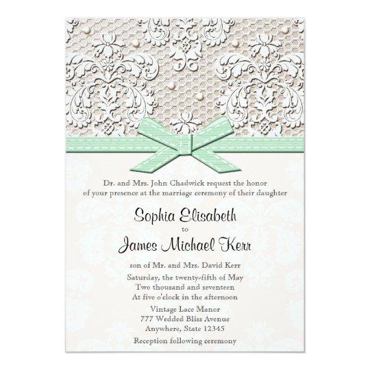 monogrammed mint vintage lace wedding invitations zazzle com