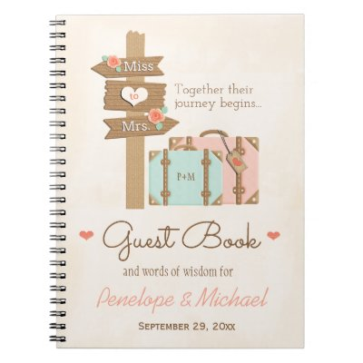 MONOGRAMMED MISS TO MRS. TRAVEL THEMED GUEST BOOK