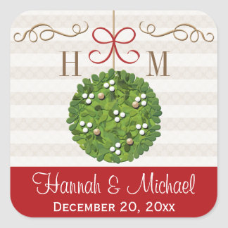 Monogrammed Mistletoe Kissing Ball Square Sticker