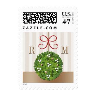 Monogrammed Mistletoe Wedding Postage Stamps