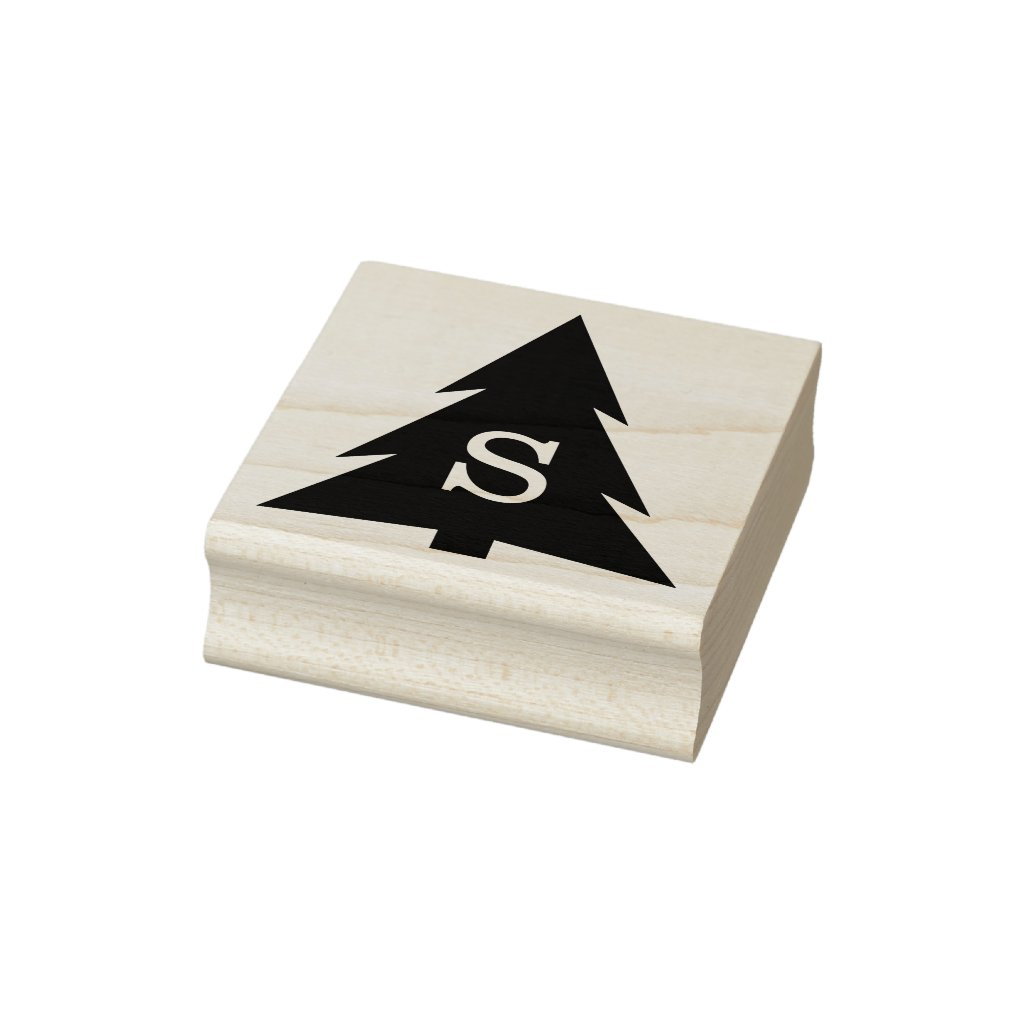 Monogrammed Modern Geometric Holiday Tree Rubber Stamp