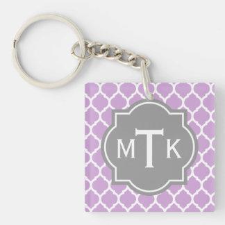 Monogrammed Modern Gray and Lilac Lattice Pattern Keychain