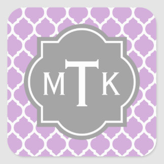 Monogrammed Modern Gray and Lilac Lattice Pattern Square Stickers
