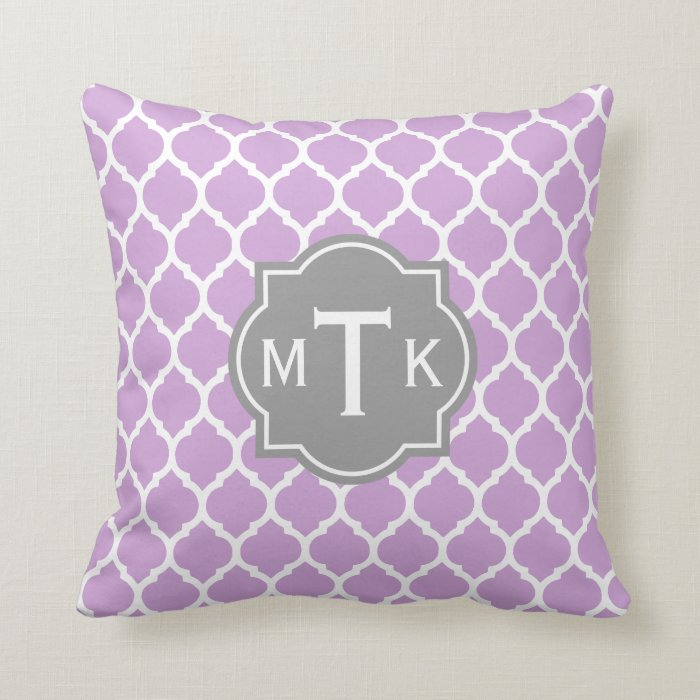 Monogrammed Modern Gray and Lilac Lattice Pattern Throw Pillow Zazzle