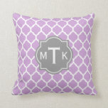 Monogrammed Modern Gray and Lilac Lattice Pattern Throw Pillows