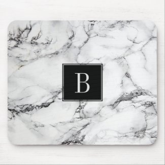 Monogrammed Modern Gray & White Marble Texture