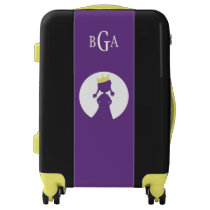 Monogrammed Modern Kids Purple Princess Silhouette Luggage