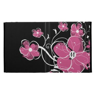 Monogrammed Modern Pink and White Floral Design iPad Folio Cover