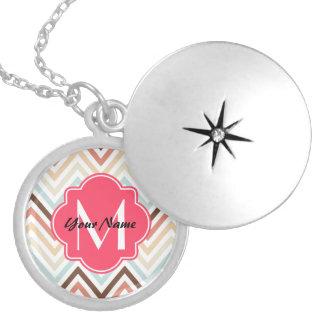 Monogrammed Modern Trendy Chevron Pattern Gifts Round Locket Necklace