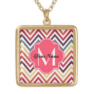 Monogrammed Modern Trendy Chevron Pattern Gifts Square Pendant Necklace