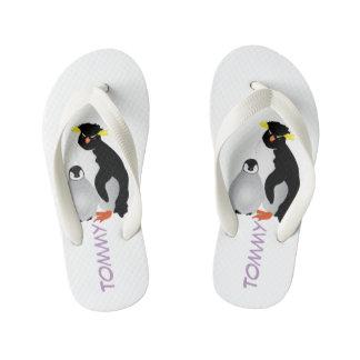 Monogrammed Mommy & Baby Penguin Kid's Flip Flops