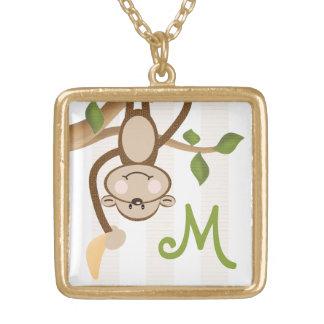 Monogrammed Monkey and Banana Pendant Necklace