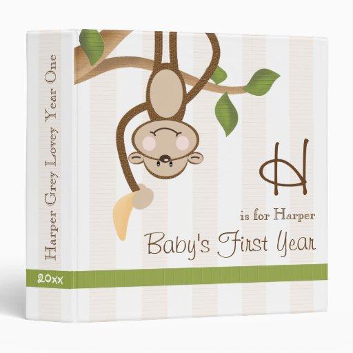 Monogrammed Monkey Baby Photo Album Binder