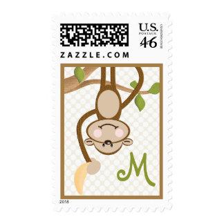 Monogrammed Monkey Postage Stamp