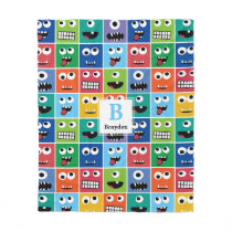 Monogrammed Monster Face Pattern Kids Colorful Fleece Blanket