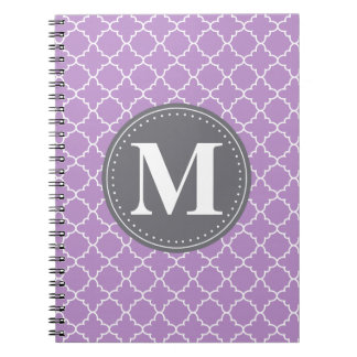 Monogrammed Moroccan Lattice in Lilac / Gray Notebooks
