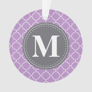 Monogrammed Moroccan Lattice in Lilac / Gray Ornament