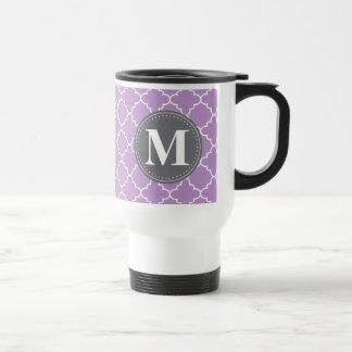 Monogrammed Moroccan Lattice in Lilac / Gray Travel Mug