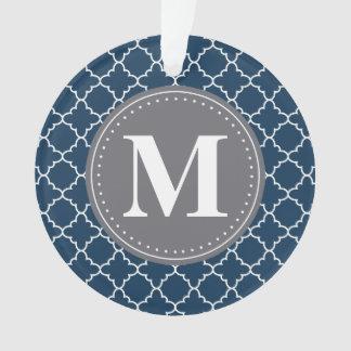 Monogrammed Moroccan Lattice in Navy / Gray Ornament