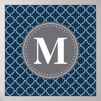 Monogrammed Moroccan Lattice in Navy / Gray Poster