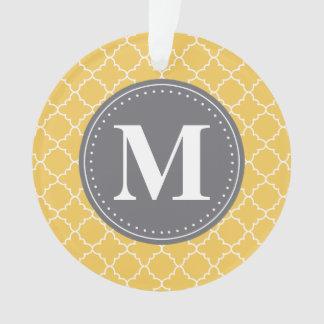 Monogrammed Moroccan Lattice in Yellow / Gray Ornament