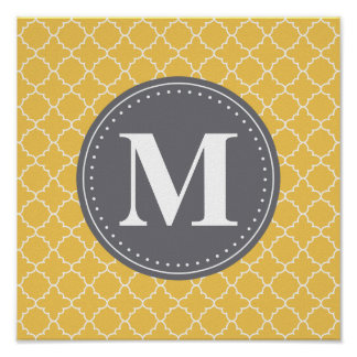 Monogrammed Moroccan Lattice in Yellow / Gray Poster