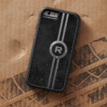 Monogrammed Mottled Black Ring and Bars Tough Xtreme iPhone 6 Case