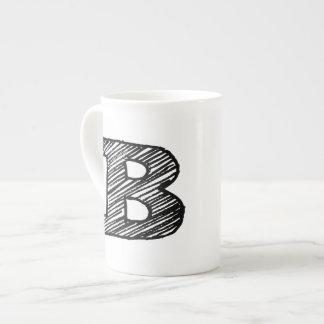 "Monogrammed Mug: Letter ""B"" Tea Cup"
