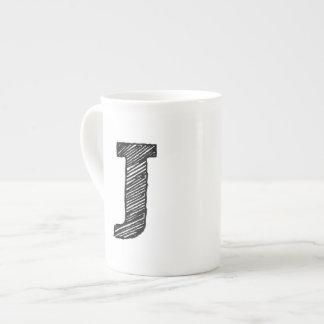 """Monogrammed Mug: Letter """"J"""" Tea Cup"""