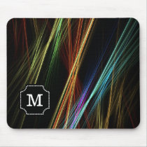 Monogrammed Multicolor Abstract lines Pattern Mouse Pad