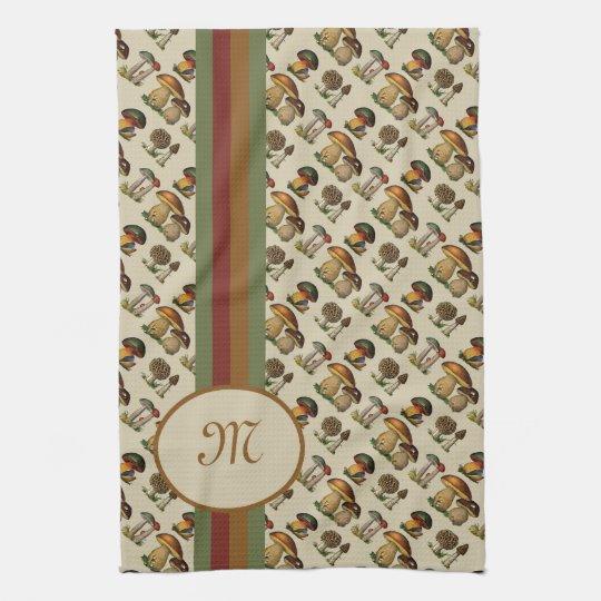 Monogrammed Mushroom Pattern Kitchen Tea Towels