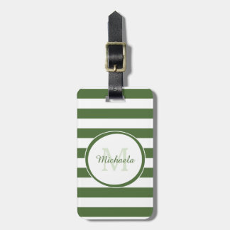Monogrammed Name Chic Big Treetop Green Stripes Luggage Tag