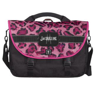 Monogrammed Name Jaguar Leopard Skin Print Pattern Laptop Commuter Bag