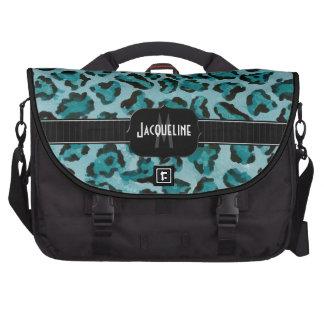 Monogrammed Name Jaguar Leopard Skin Print Pattern Laptop Bag
